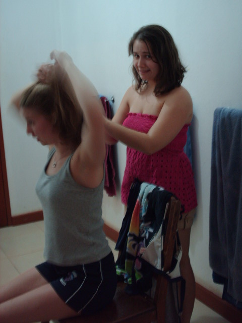 Alina cutting Lisa's hair